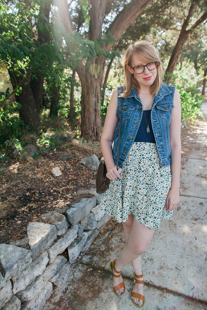 denim vest floral skirt5