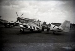 fighter aircraft(0.0), aviation(1.0), military aircraft(1.0), airplane(1.0), propeller driven aircraft(1.0), wing(1.0), vehicle(1.0), north american p-51 mustang(1.0), monochrome photography(1.0), monochrome(1.0), focke-wulf fw 190(1.0), black-and-white(1.0),