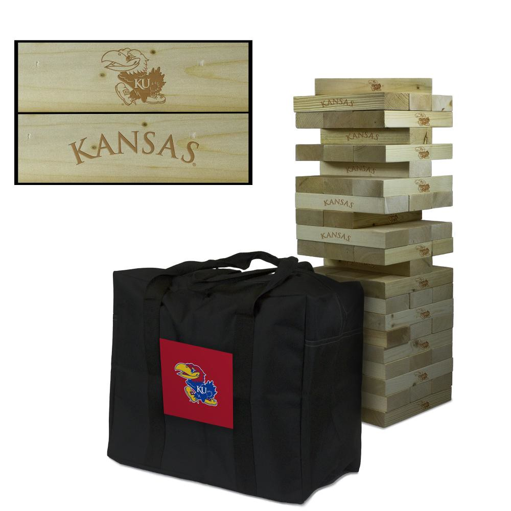 kansas Jayhawks Wooden Tumble Tower Game