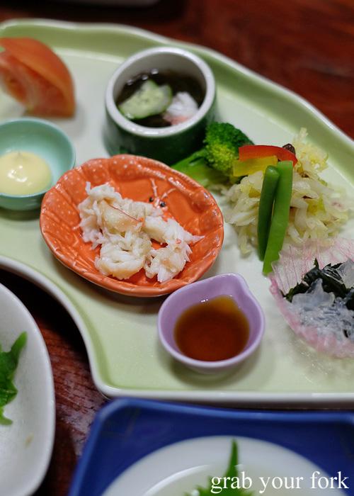 Crab with salad at Kani Honke in Sapporo, Hokkaido