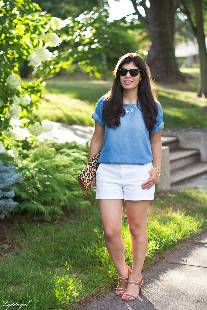 chambray tee shirt, white shorts, leopard clutch-8.jpg