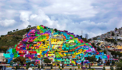 Houses painted with the mural, Palmitas district, Pachuca, Mexico