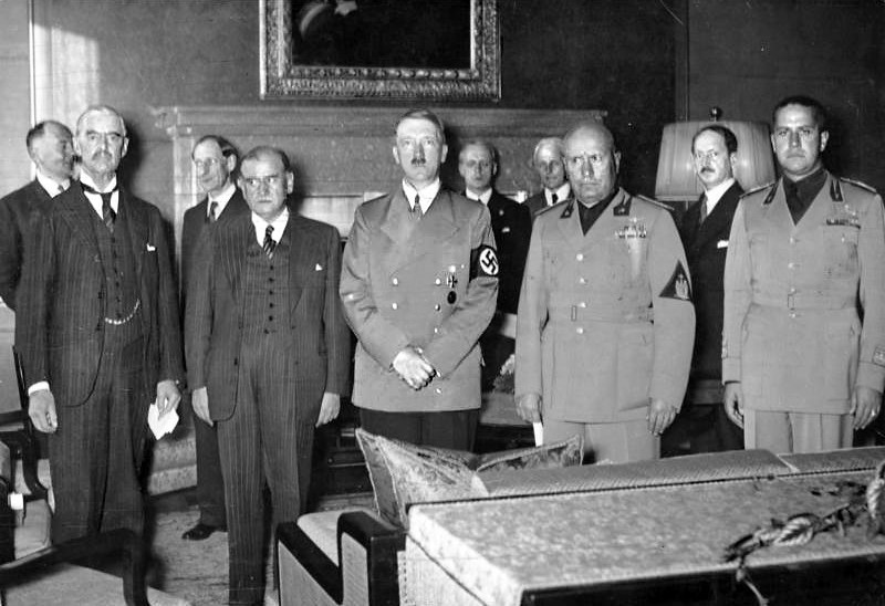Chamberlain, Daladier, Hitler, Mussolini, and Ciano before signing the Munich Agreement