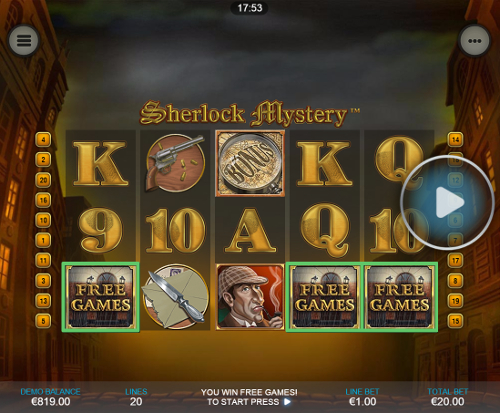 free Sharlock Mystery Mobile free spins feature