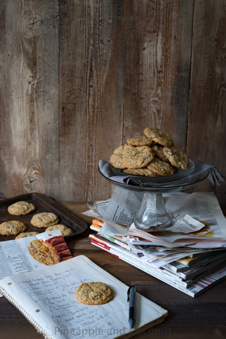 Toasted Coconut Chocolate Chip Cookies. A crispy chewy chocolate chip cookie with hint of the tropics from coconut in the recipe in three different forms. www.pineappleandcoconut.com
