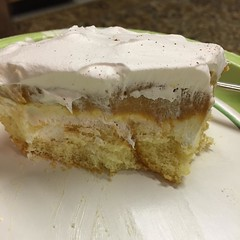 """I've been trying to not post too many food pictures since """"it grosses some people out to look at pictures of food""""....but damn! This dessert is AMAZING! It's a layer of twinkies, cream cheese, pumpkin and cool whip. Y'all will just have to unfollow me if"""