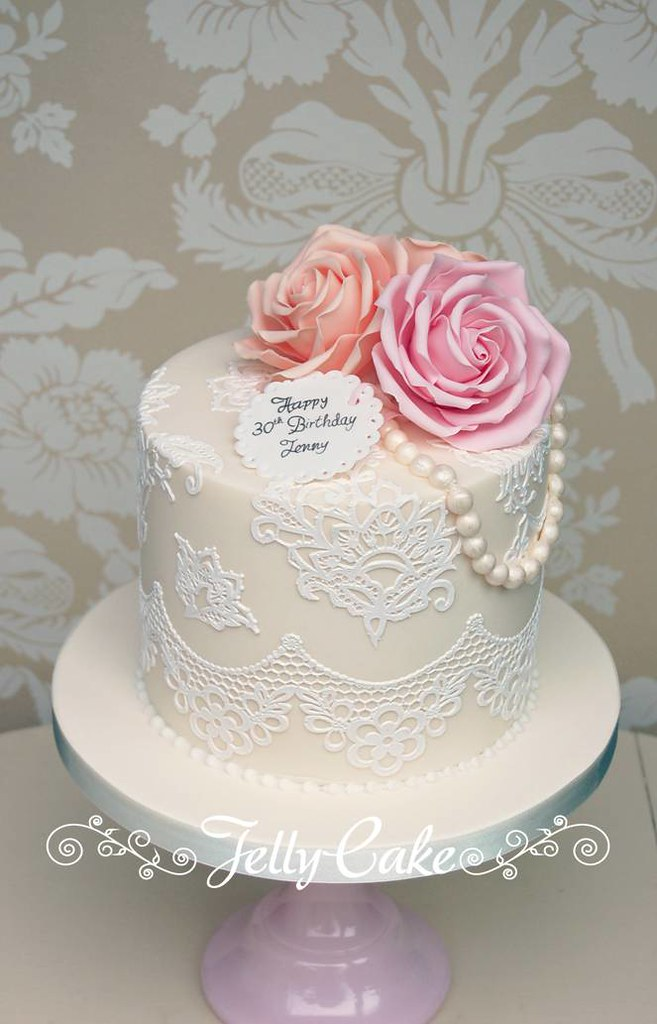 Female 30th Birthday Cake Ideas Roses And Lace