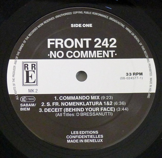 "FRONT 242 NO COMMENT 12"" LP VINYL"