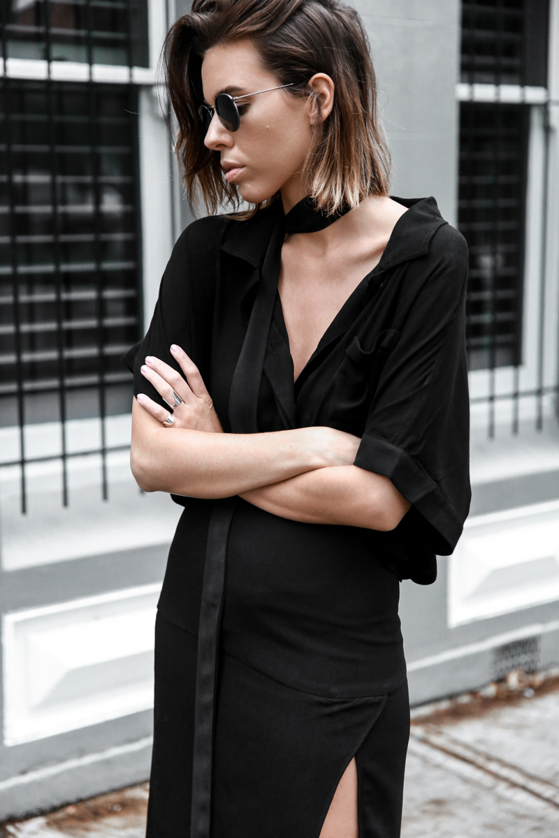 all black outfit, workwear, street style, skinny scarf, split skirt, Third Form, round sunglasses, fashion blogger, modern legacy (1 of 1)