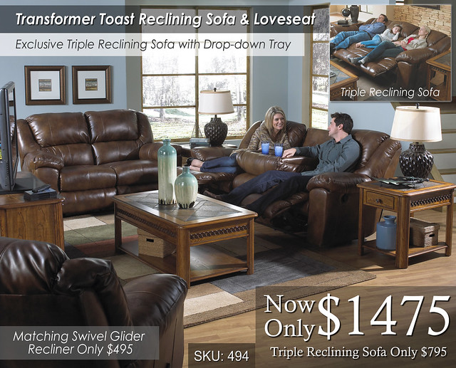 Transformer Toast Reclining Sofa and Love