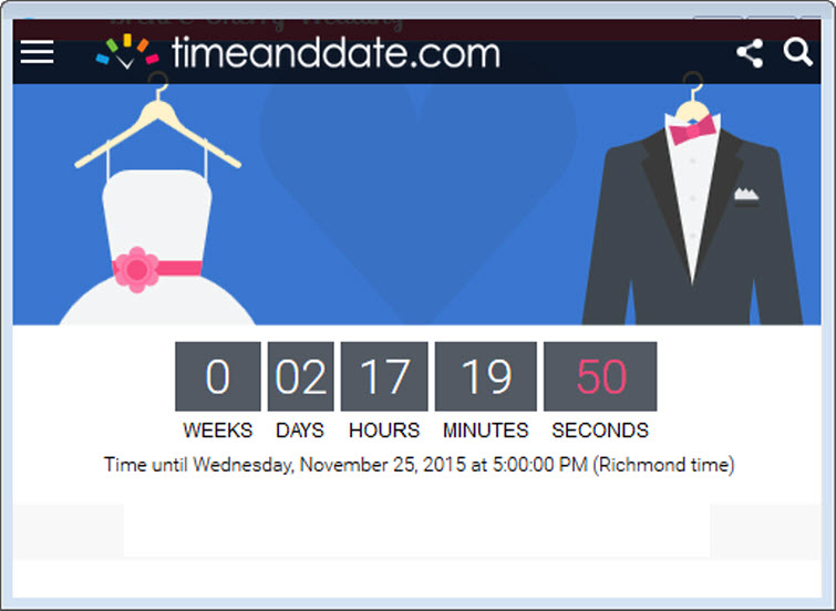 wedding countdown weeks day hours minutes