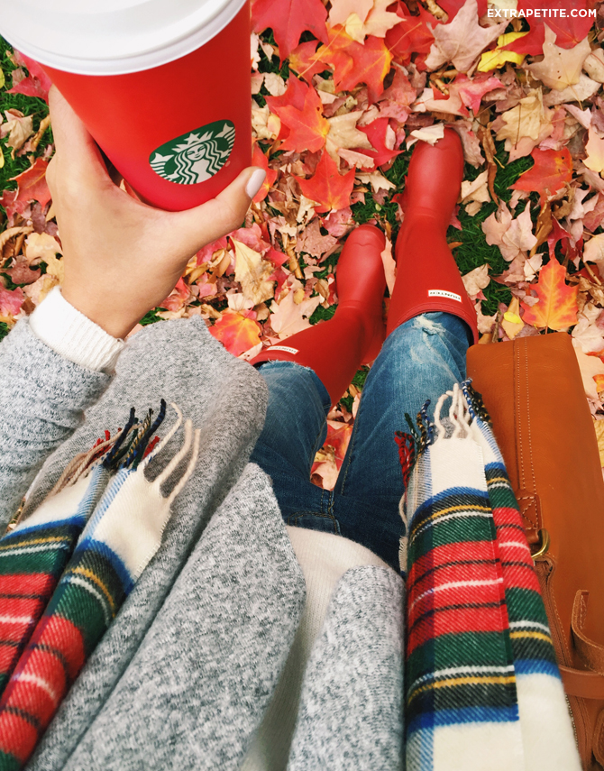 fall outfit red hunter boots