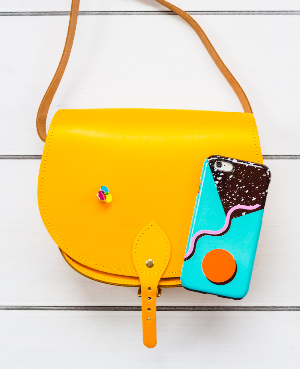 Jalal Designs yellow leather satchel london etsy fairy cakes pin badge and the small print cases phone