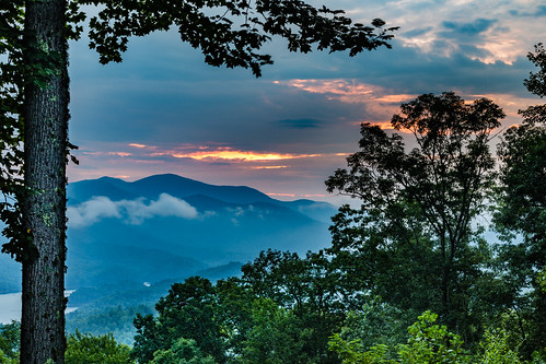 longexposure trees sky orange mountains water clouds forest sunrise canon landscape dawn us view unitedstates northcarolina greatsmokymountains 6d moonshiner fontanadam fierysky us28 fontanalake