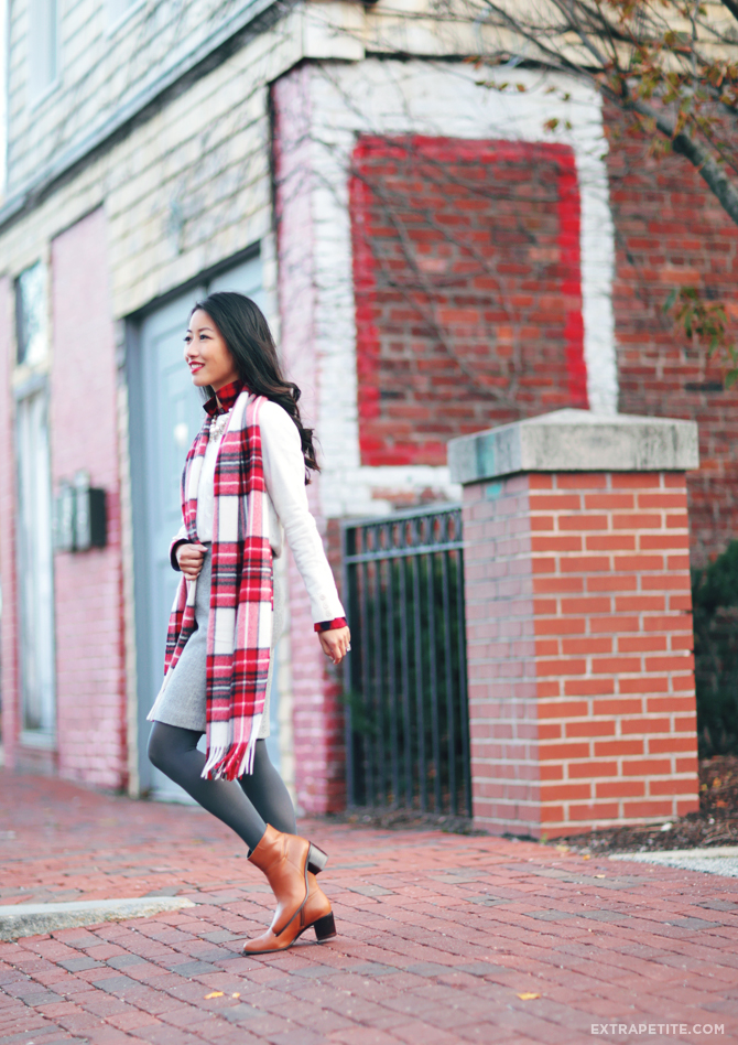 petites winter outfit cable sweater plaid scarf1