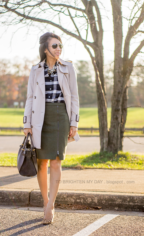 trench coat, mixed pearl necklace, navy plaid shirt, olive green wool pencil skirt, leopard pumps