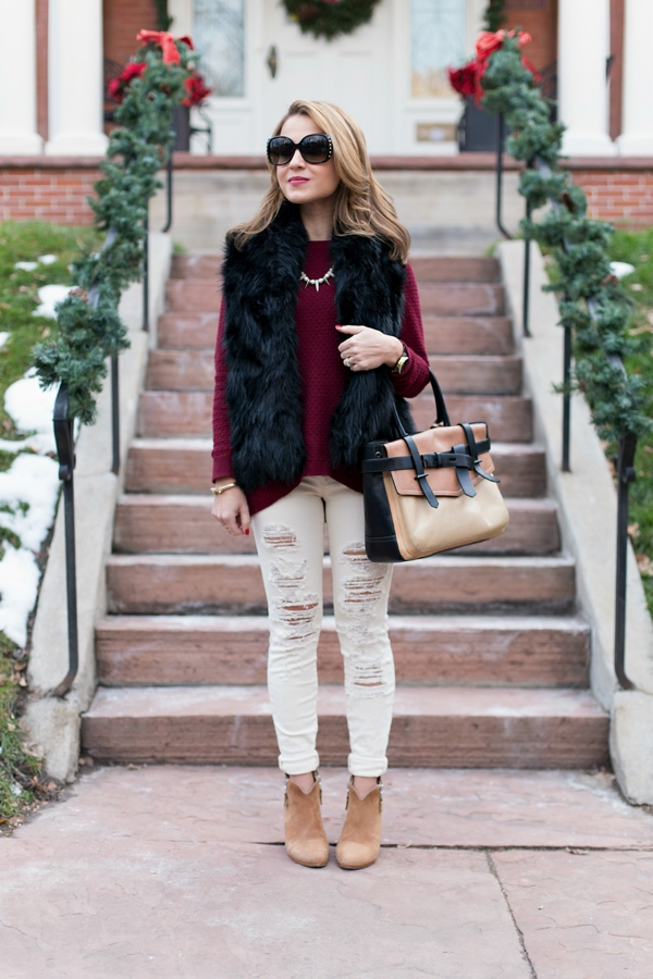 Distressed denim + furry vest
