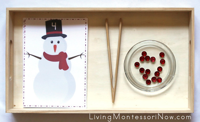 Snowman Button Counting and Practical Life Activity