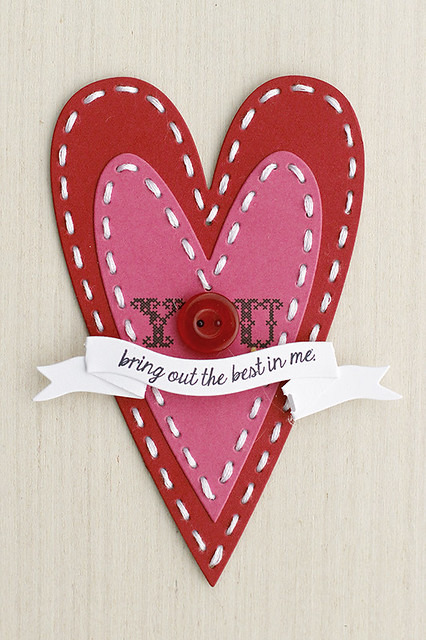 Nested Stitched Primitive Heart Valentine by Papertrey Ink