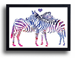 Zebras Love Art Watercolor Fine Print Wedding Gift Idea Watercolor painting Home decor Animal Watercolor Zebras poster wall art bedroom wall