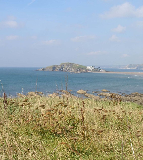 Burgh Island over cliffs
