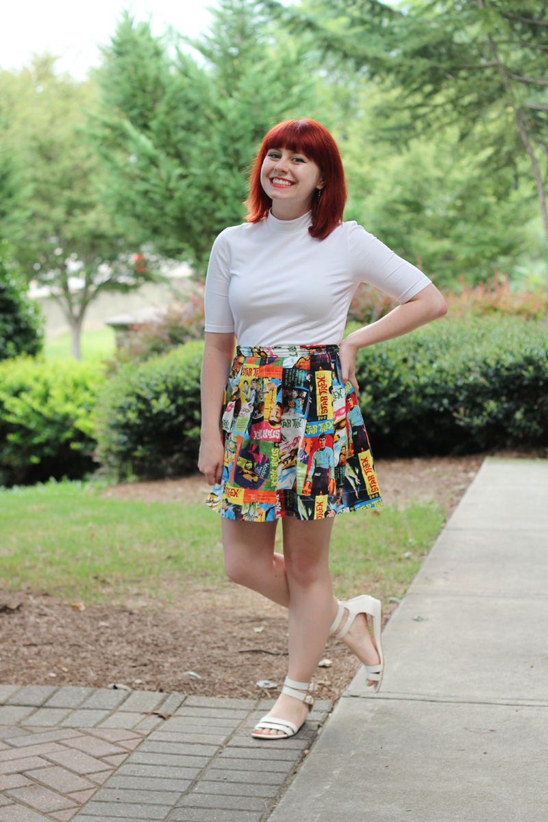Handmade Star Trek Print Skirt, White Mock Turtleneck Shirt, and Flat White Sandals