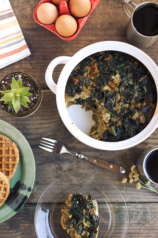 Sausage and Kale Waffle Stratta {gluten-free and dairy-free}