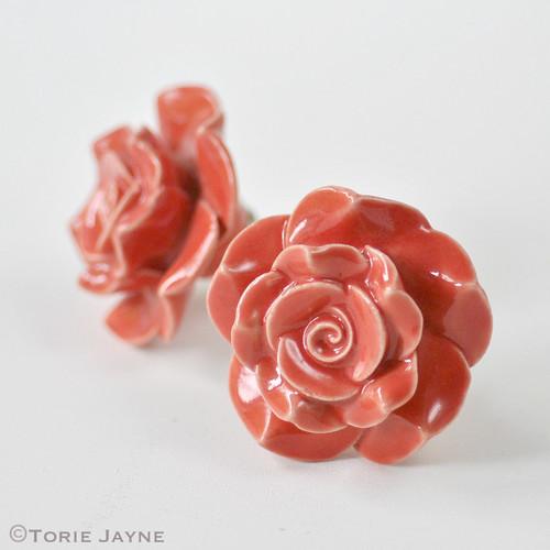 Ceramic Rose Knobs