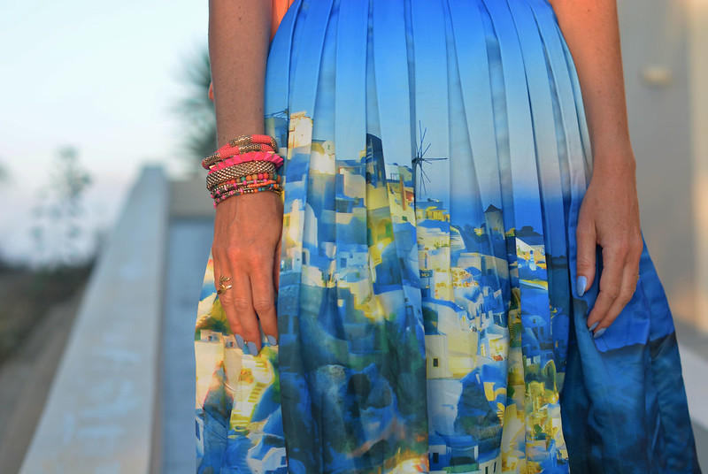 Santorini Chicwish midi skirt with orange and coral | Not Dressed As Lamb