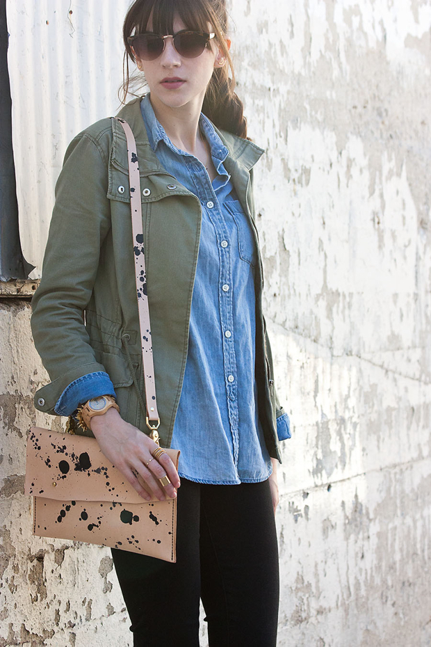 Chambray Shirt, H&M Jacket, Leather Clutch with Strap