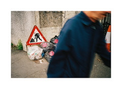 Man and traffic sign