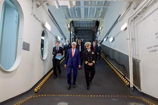 Secretary Kerry Walks Down a Ramp in the USS San Antonio