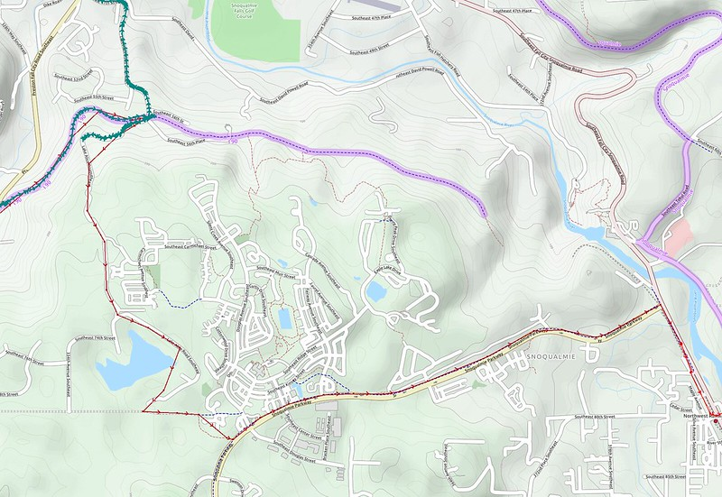 Planned Route: Lake Alice: I learned of the route around Lake Alice from some of the folks at the Bicycle Quarterly Un-meeting.  Unfortunately, it was too steep for comfort due to a 'center of gravity shift', so I went via Fall City instead.