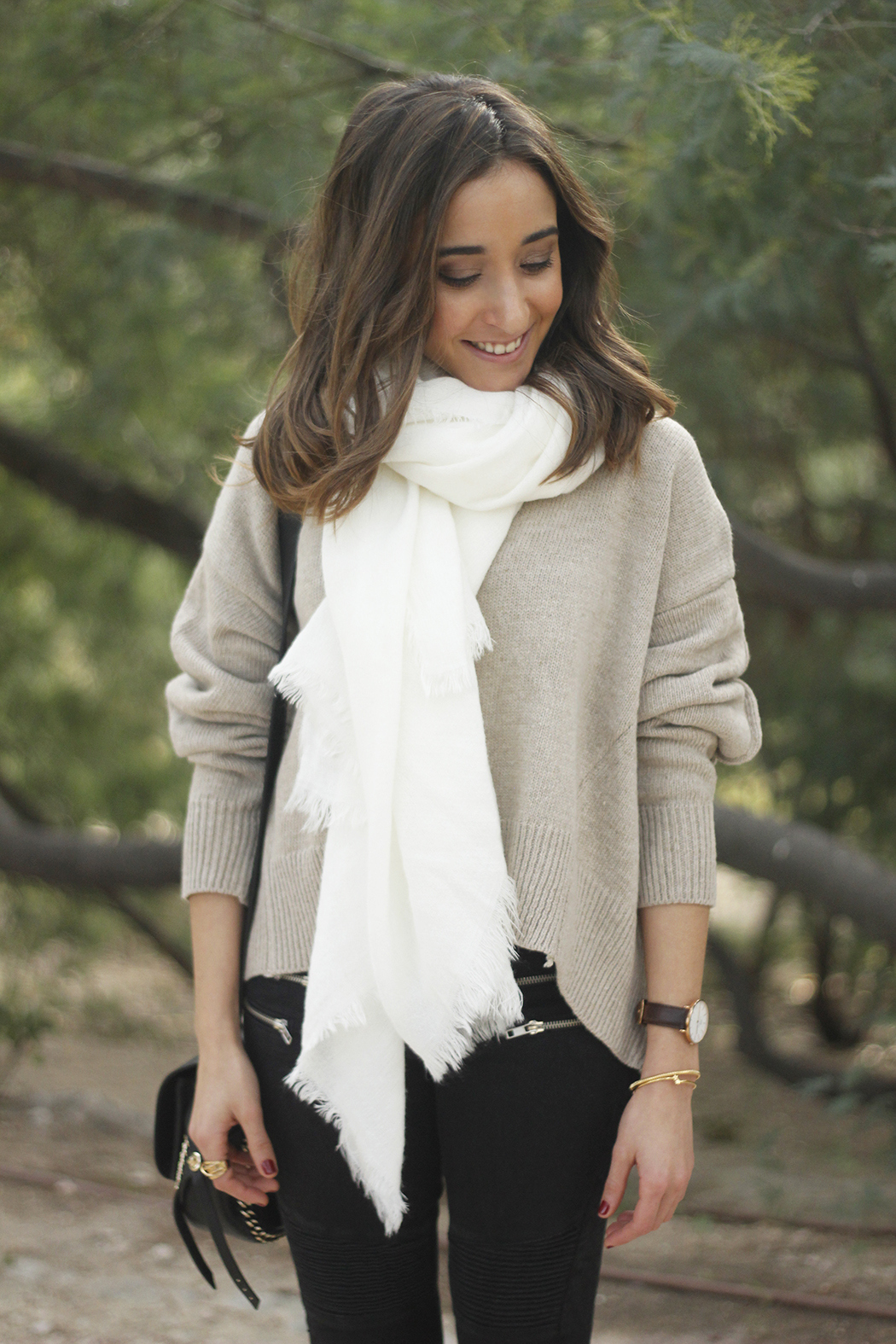 Beige Sweater Black Jeans Nude Heels White Scarf Coach Bag Outfit Style15