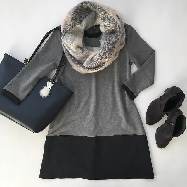 Shein Grey Round Neck Color Block Dress, size XS