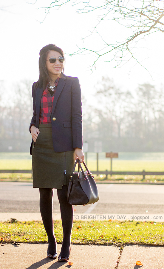 statement necklace, navy blazer, red buffalo check shirt, olive green wool skirt, gray tights, burgundy pumps