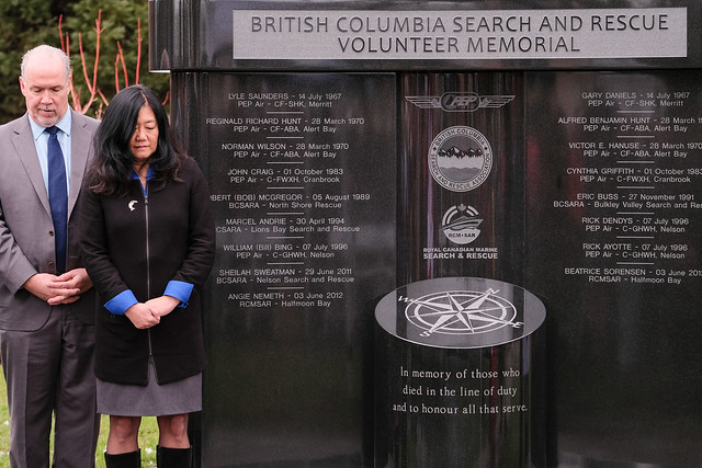 BC honours search and rescue teams with volunteer memorial at the BC Parliament Buildings.
