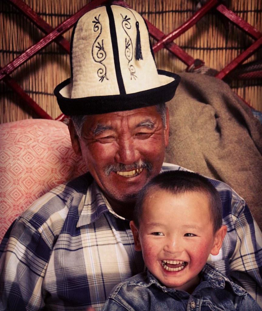 Grandad and Azelbeck celebrating Eid