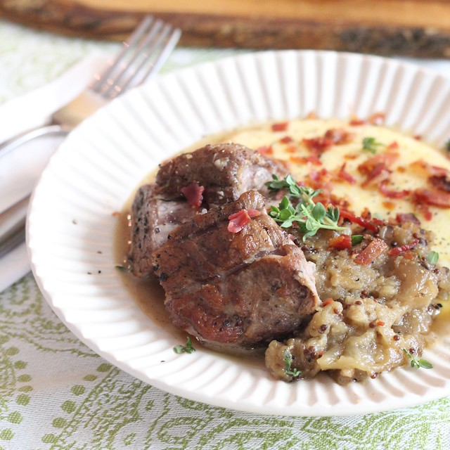 order up: hard-apple-cider braised pork shoulder with mostarda and cheesy grits