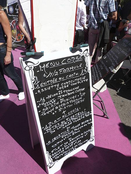 menu corse