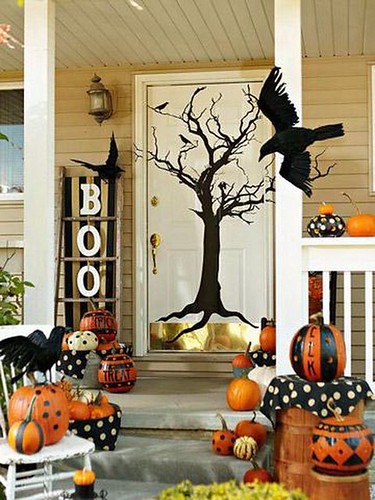 Halloween Decorating Ideas Pumpkins Front Door