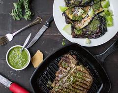 Steak chimichurri with charred eggplant and tomati…