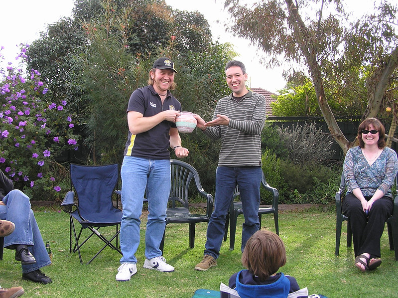 Rob and Daniel and the footy tipping trophy, Grand Final Day 2005 (Pic: Anthony Malloy)