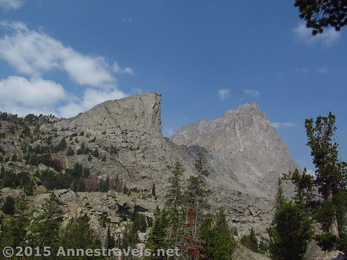 Looking toward Sundance Pinnacle and War Bonnet Peak from above the stream crossing, Wind River Range, Wyoming
