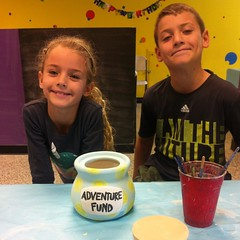 """We had a fun relaxing morning painting pottery. We can't wait to see how our """"Adventure Fund"""" savings jar turns out after glazing and firing. :blush:"""