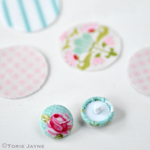 Pretty pastel fabric covered buttons 8