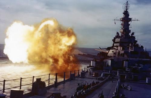 USS Missouri (BB-63) Firing her main guns in the Atlantic Aug 1944
