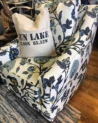 This #FourSeasons #upholstered Bailey chair just arrived in this great new fabric #aurettapeacock! #belltower #lakehouseliving #funfabrics #upholsteredchairs #indoorfurniture #richland #happychair #madeinusa