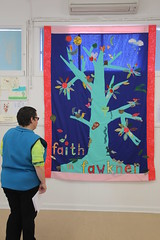 Inspecting the Tree of Faith banner, Fawkner Community House