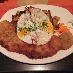 steak(0.0), pork chop(0.0), meal(1.0), breakfast(1.0), fried food(1.0), meat(1.0), schnitzel(1.0), food(1.0), full breakfast(1.0), dish(1.0), cuisine(1.0),